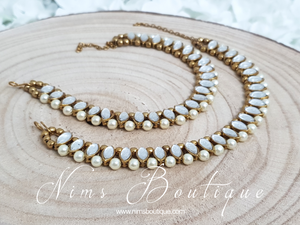Royal  Pearl & Clear Stone Anklets