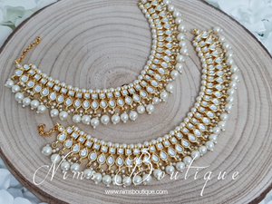 Gold Kundan & Pearl Pair of Anklets