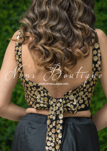 Luxury NB Black Sequin Bow Blouse (various sizes)