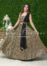 Luxury Black & Gold Sequin Bow Lehnga (various sizes)