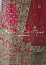Semi Stitched Red & Gold Embroidered Bridal Lehnga