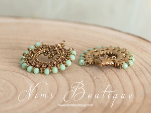 Vidya Mint & Gold Stone Earrings