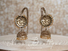 Royal Celina Antique Gold & Gold Stone Chumke with earring chains
