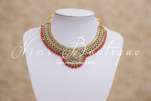 Small Royal Antique Gold, Red & Clear Stone set