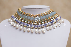 Pavan Light Grey Kundan Choker Set with blue floral beads