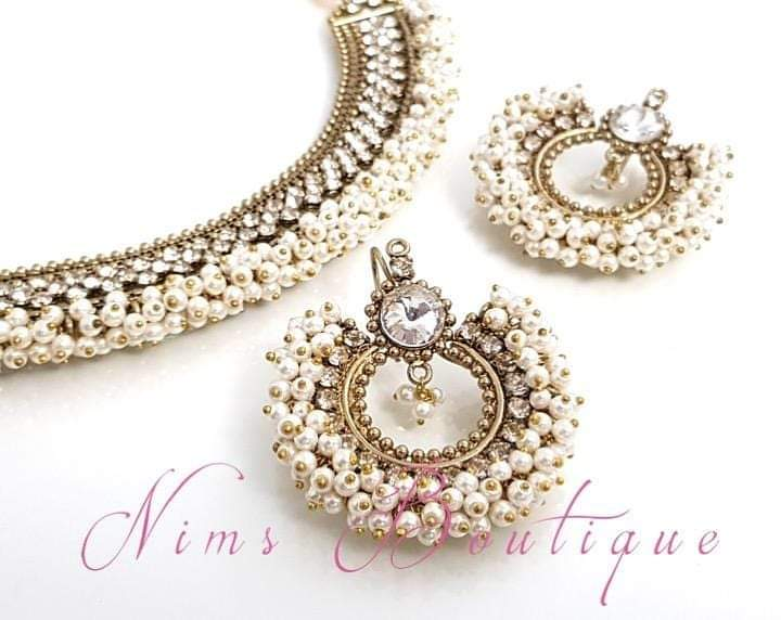 Meghna Royal Pearl Cluster Earrings