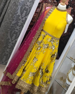 Yellow & Hot Pink Halterneck Sparkle Anarkali Suit (various sizes)