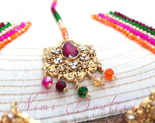 Maharani Multicolour Red & Clear Stone Chumke & Tikka set