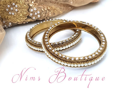 Royal Antique Gold & Pearl Pair of Bangles