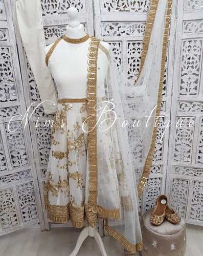 White Halterneck Sparkle Anarkali Suit (various sizes)
