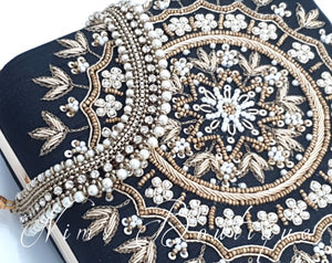 Large Black Raw Silk Pearl Embellished Clutch Bag