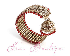 Red & Clear stone Royal Bracelet with chumka