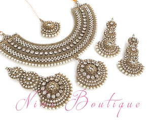 Royal Radha Antique Gold & Pearl Set