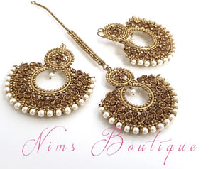 Royal Pearl & Gold Stone Chand Tikka Set (7cm)