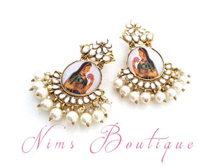 Maharani Rani Painted & Pearl earrings Antique Gold