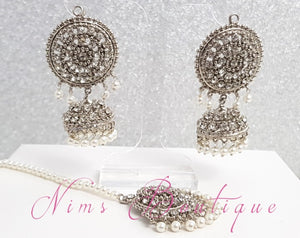 Royal Silver & Pearl Chumke & tikka set