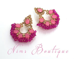 Zoya Pink Cluster Earrings