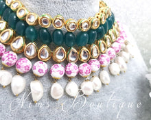 Pavan Green Kundan Choker Set with violet floral beads - Nims Boutique