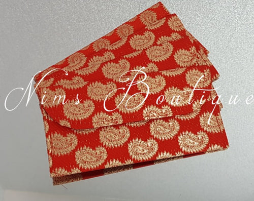 Red Brocade Money Wallets