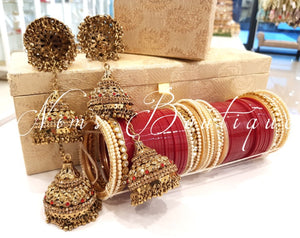 Pair of Red & Gold Stone Antique Gold Kaleere - Nims Boutique