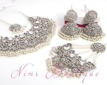 Jasmine Maharani Silver, Pearl & Clear Stone Set - Nims Boutique
