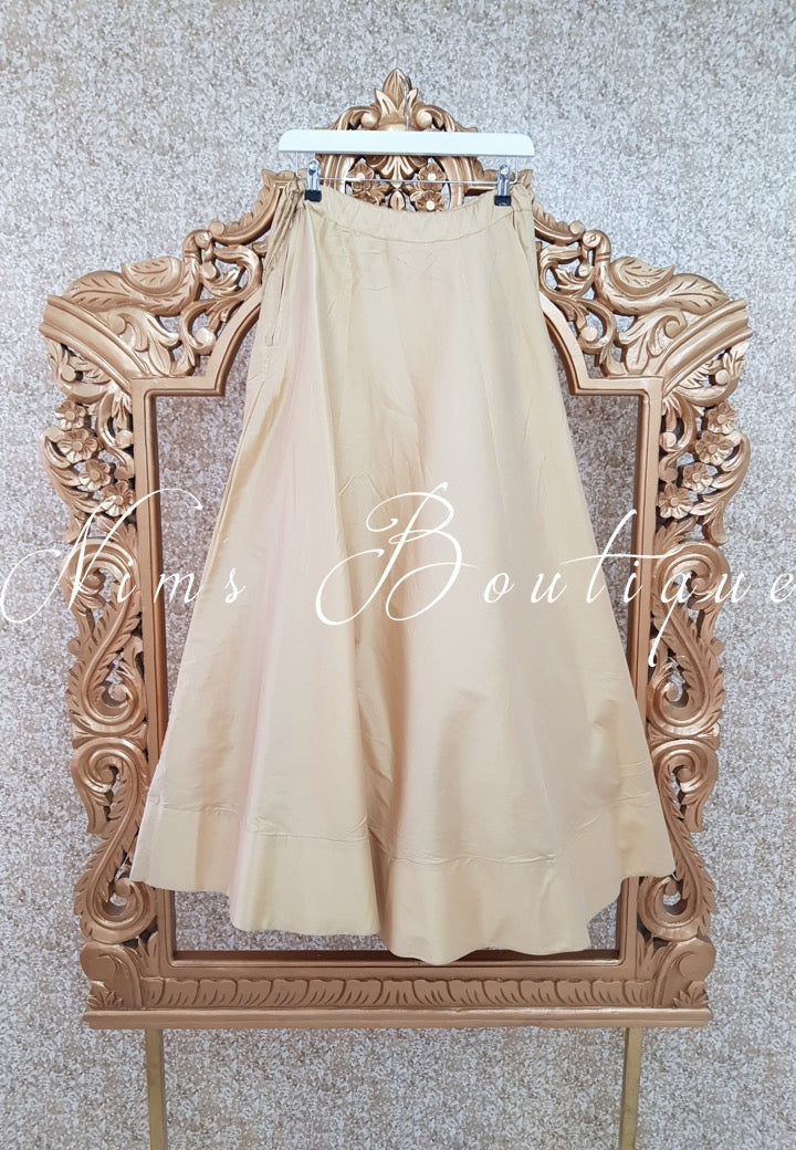 Readymade Gold Silk skirt/lehnga (various sizes)