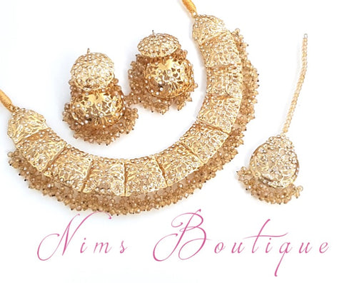 Padmini Gold Necklace Set with passa