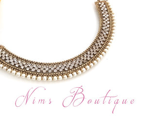 Statement Royal Pearl Antique Gold Necklace