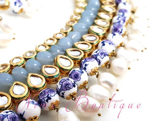 Pavan Light Grey Kundan Choker Set with blue floral beads - Nims Boutique