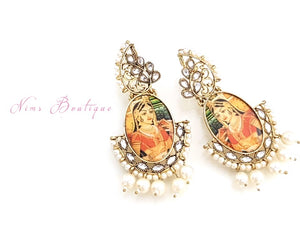 Maharani Rani Painted & Pearl earrings