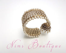 Pearl & Gold Royal Bracelet with hanging chumka - Nims Boutique