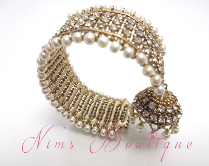 Pearl & Gold Royal Bracelet with hanging chumka
