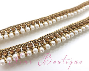 Royal Antique Gold Stone & Pearl Anklets