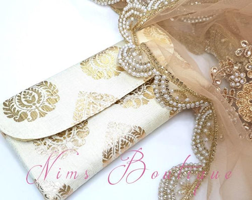 Cream Brocade Clutch Bag