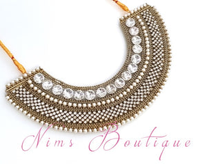 Royal Jhanvi Antique Gold & Pearl necklace