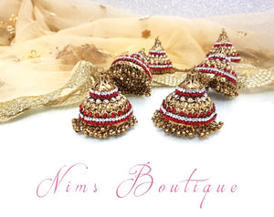 Pair of Red & Clear Stone Antique Gold Kaleere - Nims Boutique