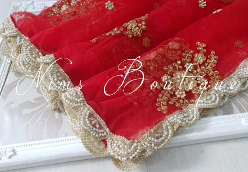 Red Net Pearl Embellished Dupatta/Chunni with Luxury Pearl Edging