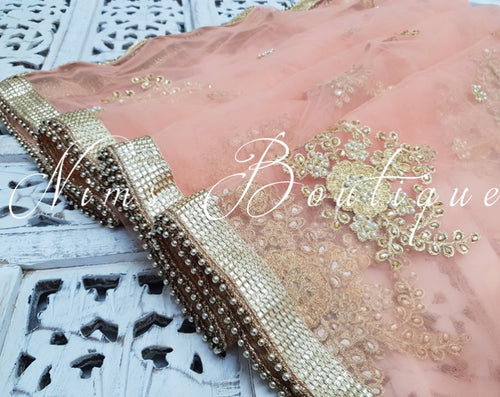 Pastel Peach Net Pearl Embellished Dupatta/Chunni - Nims Boutique