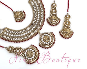Royal Radha Antique Gold & Deep Red Set