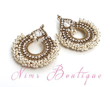 Meghna Royal Pearl Cluster Chand Earrings