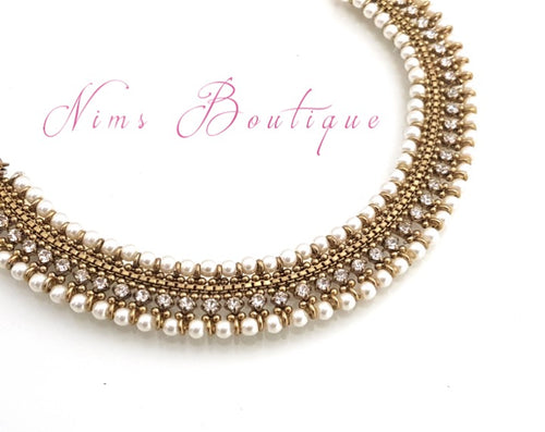 Royal Pearl Antique Gold Necklace with Clear Stone