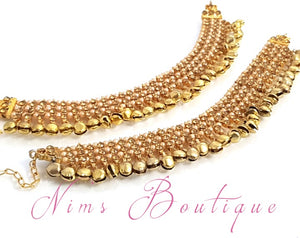 Gold stone & Pearl Jingle Payals / Anklets with Bells