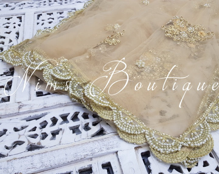 Light Gold Net Pearl Embellished Dupatta/Chunni with Luxury Pearl Edging - Nims Boutique