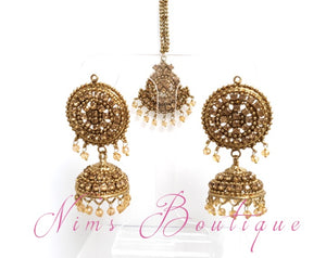 Royal Gold Stone & Gold Bead Chumke & tikka set