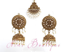 Royal Gold Stone & Pearl Chumke & tikka set