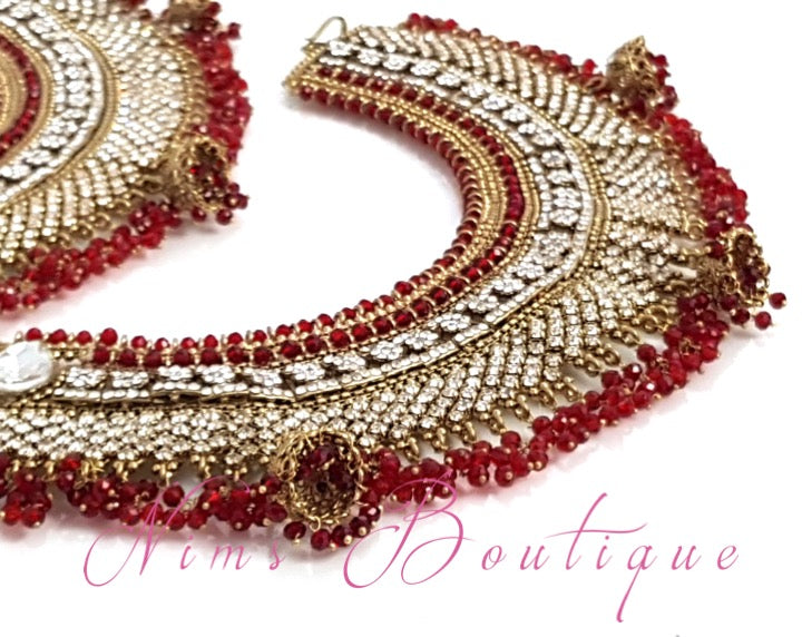 Royal Shaadi Antique Gold & Red Anklets