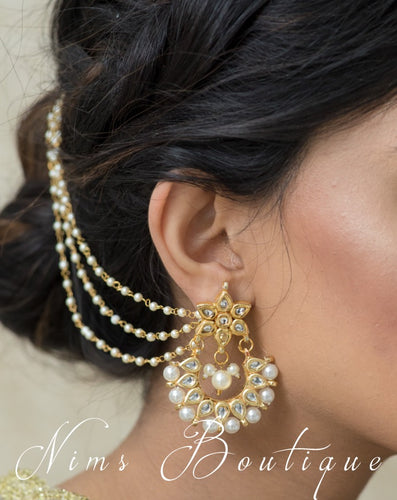 Gold & Pearl Pair of Earring Chains - Nims Boutique