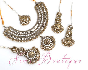 Royal Radha Antique Gold & White Set
