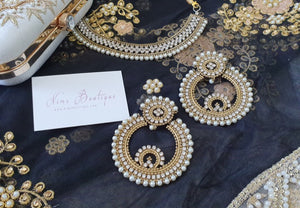 Large Royal Antique Gold & Pearl Nargis earrings - Nims Boutique