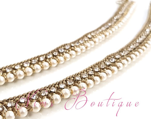 Pair of Royal Antique Gold & Pearl Anklets - Nims Boutique